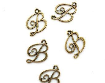 5 charms - letter B - color bronze