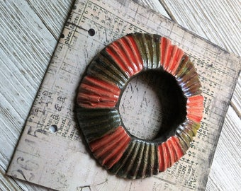 200. Wondrousstrange Raku Red Green Copper Stripe  Disk Pendant Textured Mushroom