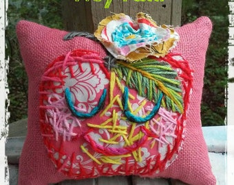 Funky Apple Fall Pillow Ready to Ship YelliKelli