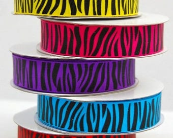 ZEBRA  Grosgrain 7/8 inch x 10 yards ...On Sale Now..Use Code for 25% OFF
