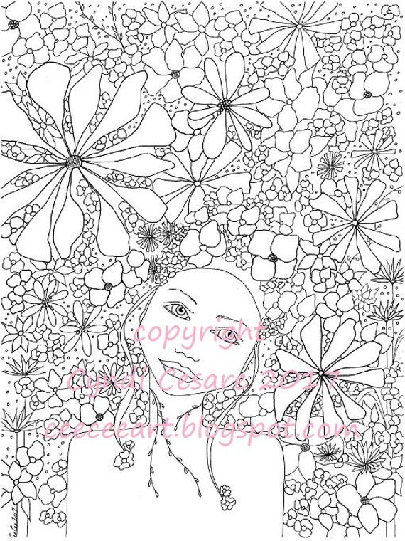 Coloring Page CeeCee's Flower Girls Adult Coloring Book Page Digital