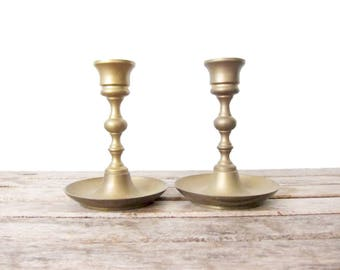 Vintage Brass Candlesticks - Pair of Brass Candle Holders - Candlestick Pair - Hollywood Regency Classic Formal Dinner - Gold Brass