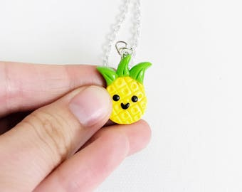 Pineapple Polymer Clay Necklace, Kawaii Charm Necklace