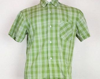 ON SALE Vintage Green White Plaid Button Front Shirt Mens M 60s