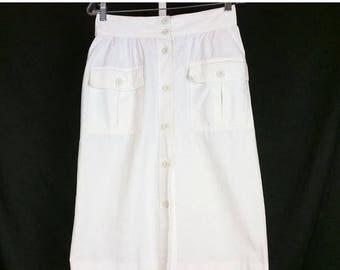 ON SALE Vintage White Straight Midi Skirt 80s M