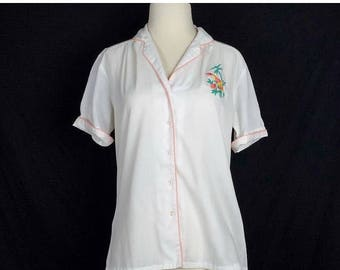 ON SALE Embroidered Tropical Toucan Floral Top 80s M