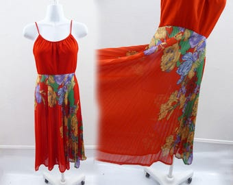 Vintage 70s Dress Size S Red Floral Micro Pleat jersey Disco Strappy Sun 80s