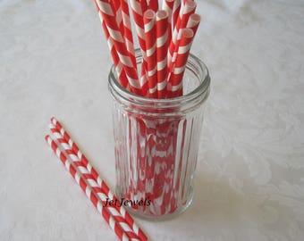 25 Paper Straws, Red Straws, Drinking Straws, Farm Party, Backyard Barbecue, Birthday Party, Cake Pop Sticks, Mason Jar Straws