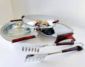 Glo Hill Art Deco Red Bakelite and Chrome Set, Buffet Serving Dishes, glass insert, lid, tongs, Gourmate Hors d'ouvres Mid Century Modern