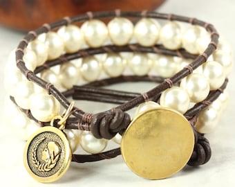 Virgo Bracelet, Virgo Star Sign, Zodiac Jewelry, August Birthday, Virgo Charm, Zodiac Sign, Astrological Jewelry, Pearl Wrap Bracelet