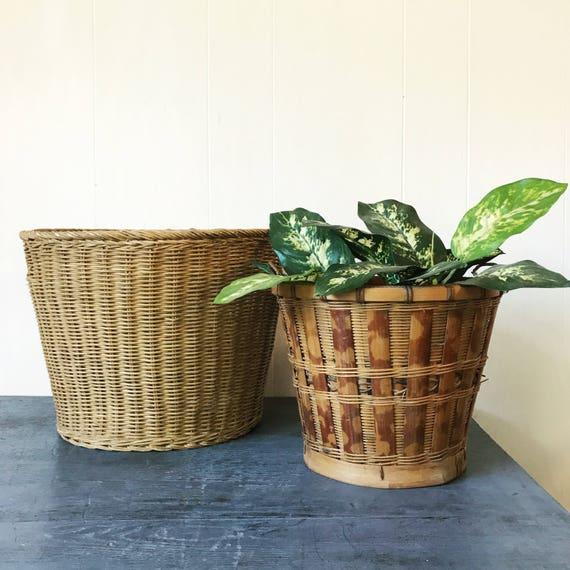 vintage bamboo basket planters - medium round rattan - woven boho home storage