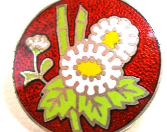 "1950s Enamel Button, Japanese Cloisonne flowers 5/8"", bamboo."