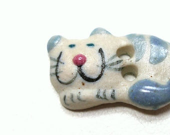 "Mini Ceramic CAT Button, Handmade gray stripe kitty, 2/3"", tabby cat. Smiling,happy cat."