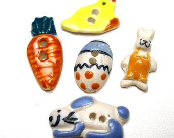 Easter Buttons, 5 Handmade ceramic bunny, egg, chick, carrot. Spring time set.
