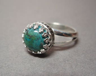 Chrysocolla Gemstone and Sterling Silver Hand Made Ring Size 7 and half