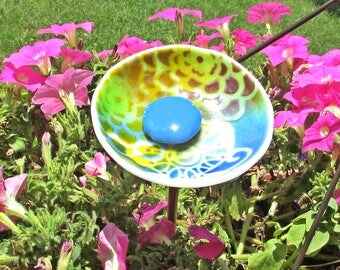 Great Pastel Butterfly And Zinnia Pattern Flower Fused Glass Garden Art With A  Copper Stem For Home