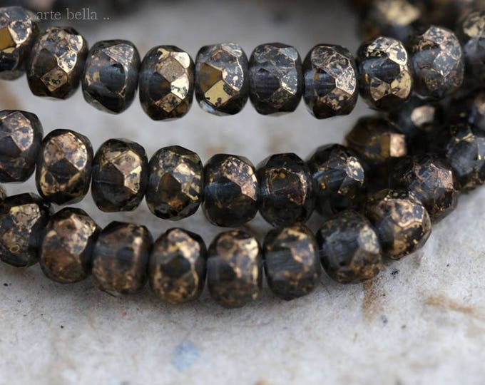 GOLDEN DENIM .. New 30 Picasso Czech Rondelle Glass Beads 3x5mm (6182-st)