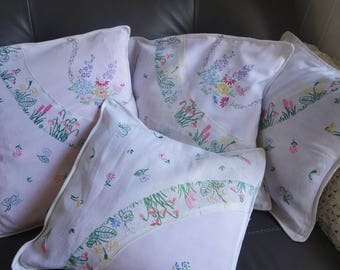 4 vintage hand embroidered cushion covers 15x15 inches