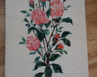 unframed vintage needlepoint  roses picture 20x13 inches