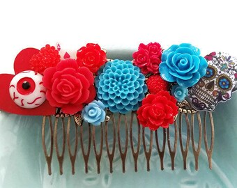 Red Blue Sugar Skull Cluster Hair Comb-Day of the Dead-Eyeball Fascinator-Kitschy Accessory-Offbeat Wedding-Horror Fan-Tattoo Inspired Gift