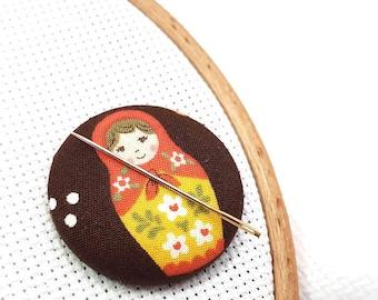Matryoshka-Needle Minder-Reversible Needleminder-Babushka-Russian Doll-Magnetic-Cross Stitch-Embroidery-Quilting-Sewing-Needlepoint-DIY Gift