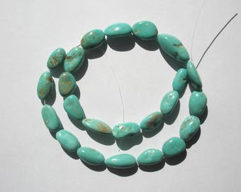 "Genuine Elisa (Sonora) Turquoise medium/Lg Nugget Beads - 10-11x15-18mm - 15.5"" Strand"