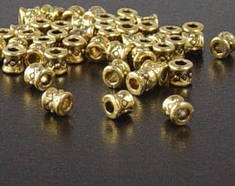 Bead Spacer 50 Antique Gold Barrels Tube Hourglass 3.8mm NF (1061spa03d1)