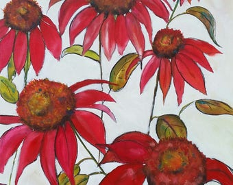 Love Red Flowers, Large ORIGINAL Mixed Media paintin 30 x 40