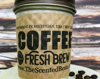 Fresh Brew Scented Coffee Candle - 8 oz. Scented Soy Candle Makes The Perfect Coffee Gift For Coffee Lover, Coffee, Candles