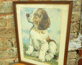 Paint By Numbers Puppy In Yard - Vintage Oil Painting  Cocker Spaniel - PBN Frame Home Decor - Prissys Newberry Antiques