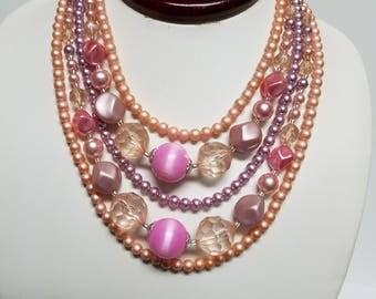 Vintage Pink Bead Multi Strand Necklace Marked Japan