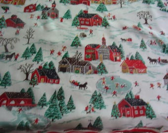 Glentex Christmas Scarf, Polyester, Vintage, Made in Italy, Christmas village scene, Ice Skating, Snow village, 26 by 26 inches square