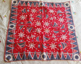 Vintage Handkerchief, Red, White, Blue, Nautical Motif