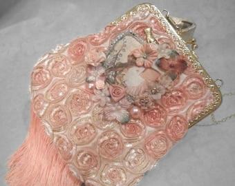 36% OFF Closet Cleaning PURSE Handbag Handmade Romantic Flapper Girl Fringe - Handmade Purse - Pinks
