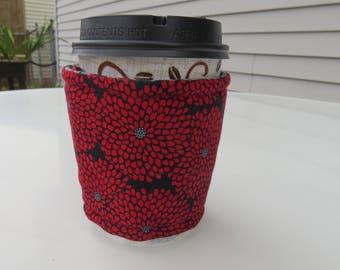 Handmade Coffee Cozy or Sleeve, Coffee Sleeve, Cup Sleeve, Flowers