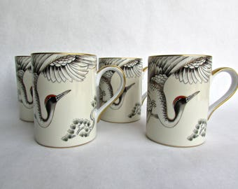 Fitz and Floyd Porcelain Crane With Pine, 4 Mugs w/ 22ct Gold 1987-1994