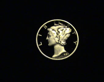 Mercury Dime - cut coin pendant - 1941 - Mercury, Ancient Roman Messenger God - SILVER