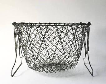 SALE Wire Basket Egg Basket Collapsible Farm Basket Fixer Upper Decor Farmhouse Decor Rustic Decor