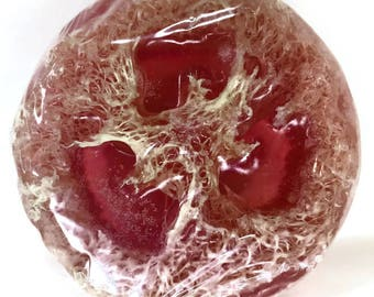 NEW Jasmine Handmade Loofah Soap Bar - round, luffa, floral scent, pink, melt & pour, glycerin, exfoliating, exfoliate, scrubby