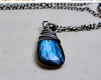 Labradorite Necklace, Silver Necklace, Wire Wrapped, Labradorite Jewelry, Midnight Blue