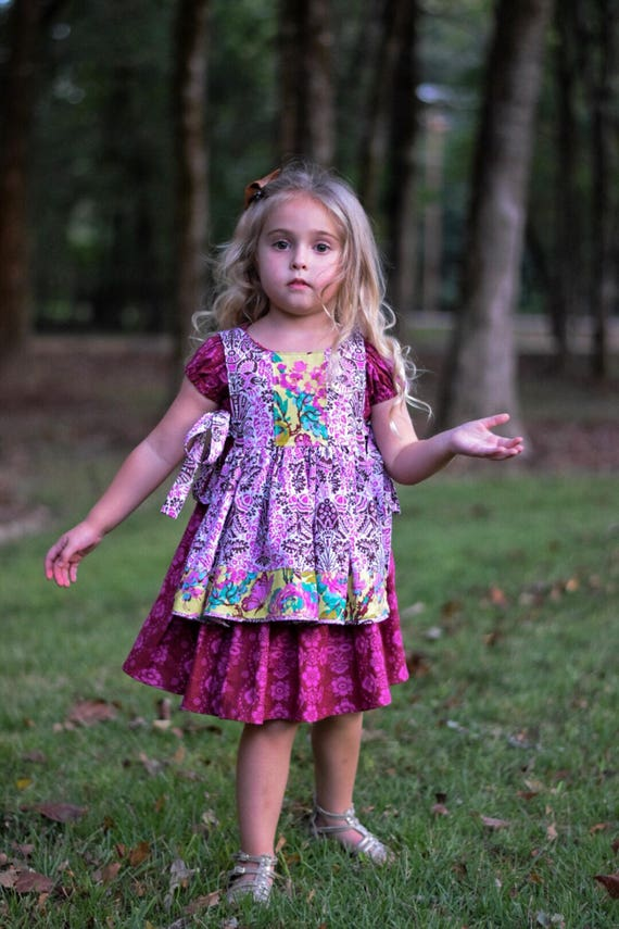 Girls Peasant Dress with Pinafore - Back to School - Fall Dress With Pinafore - Pinafore Dress - Boho Peasant dress - Purple Boho
