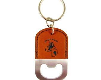Harlequin Great Dane Head Bottle Opener Keychain K3291 - Free Shipping