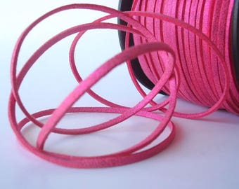 7 Yards (21 Ft.) Magenta Sparkle Colored Faux Suede Cord, Jewelry Making Supplies, with Gold Dust