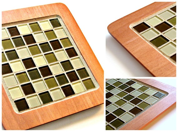 Mosaic Trivet, Handmade Mosaic Room Decor, Mosaic Centerpiece. Mosaic Wood Hot Plate,  Caramel Colored Trivet, Square Mosaic Trivet
