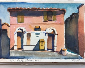 "Provencal la Poste, Villars, original watercolor 9 1/4"" x 6"" #1"