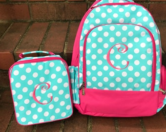 Pink and Aqua Polka Dot Book bag & Lunch Box COMBO-includes Monogram-School Bag-Diaper Bag
