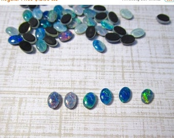 SALE 20% Off Natural Opal Cabochon Triplet 4mm x 6mm, QTY1, Oval Australian Gemstone  Color Play,Lighting Ridge