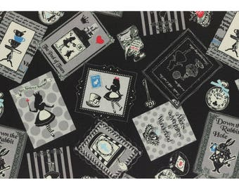 Alice in Wonderland - Alice in Frames L40687-100 Black, Japanese Cotton Linen Girl's Story by Lecien of Japan, 1 yard