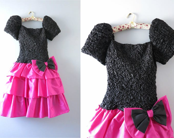 Vintage 80s Party Dress | 1980s Pink & Black Tiered Satin Party Dress