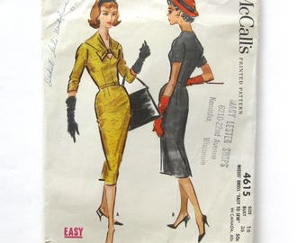 1950s Vintage Sewing Pattern / Slim Fit Dress / Wiggle Dress / Bombshell Dress Dress / Keyhole Neckline with Bow / McCall's 4615 / Size 16